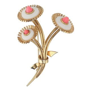 1950s Vintage Marcel Boucher Gold Tone Coral Flower Brooch For Sale