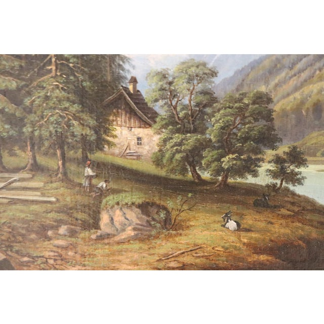 Mid 19th Century 19th Century Oil Painting on Canvas Mountain Landscape For Sale - Image 5 of 12