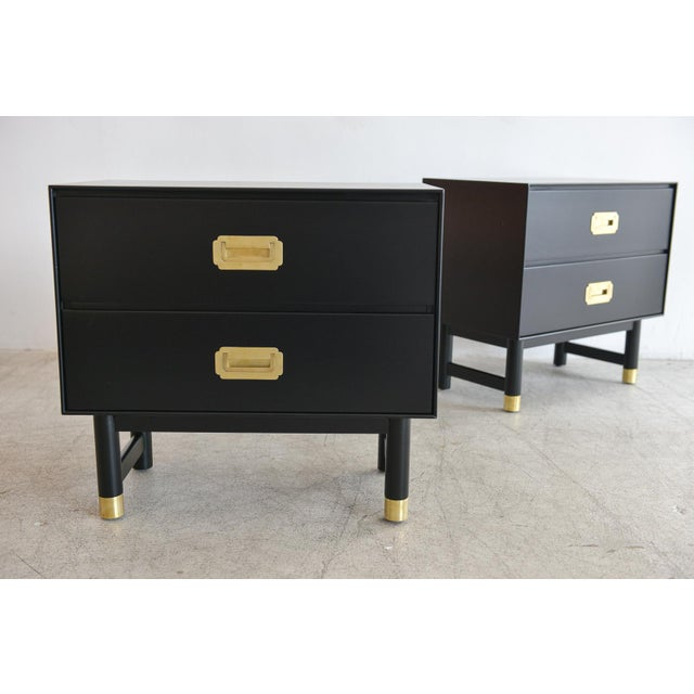 1960s Black Lacquer and Brass Campaign Nightstands - a Pair - Image 2 of 11