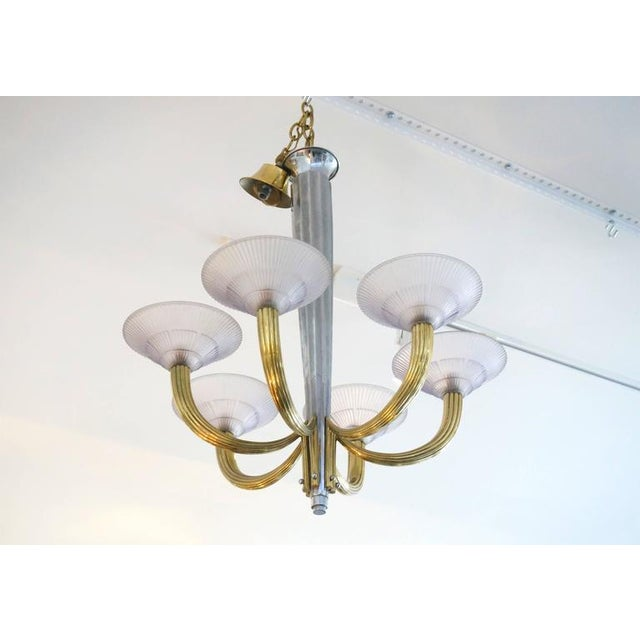 French Art Deco Six-Light Chandelier, Silver Plate, Brass & Violet Glass Shades For Sale - Image 4 of 8