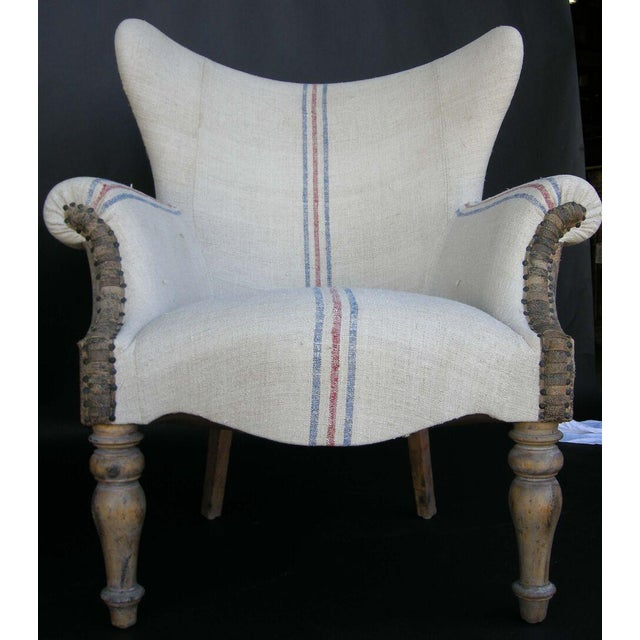 Custom Lambskin and Vintage Linen Chairs - Image 8 of 8