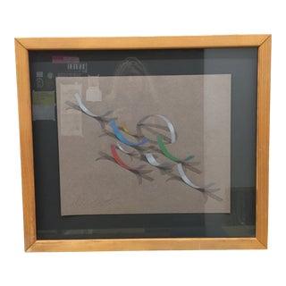 1990s Original Framed Drawing For Sale