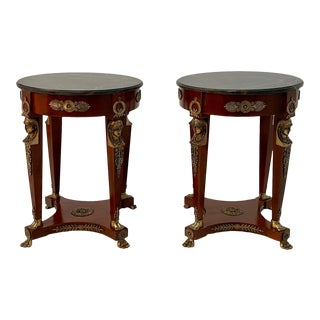 Mahogany and Bronze French Empire Style End Tables -A Pair For Sale
