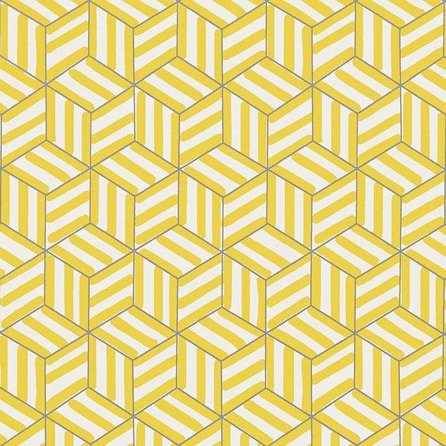 Schumacher Tumbling Blocks Geometric Stripes Wallpaper in Citron Yellow - 2-Roll Set (9 Yards) For Sale