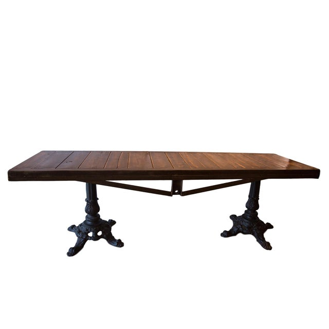 :: Stunning buffet table, made in the USA using a reclaimed wood top and pair of as found ornate vintage iron bases, which...