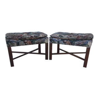 Mid-Century Modern Footstools With Needlepoint Victorian Scene Tapestry- a Pair For Sale