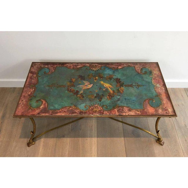 Neoclassical Coffee Table With Gilt Base and Reverse Painted Mirror Top - Image 5 of 11