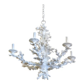 Vintage Palm Beach Tropical White Faux Coral 6 Light Chandelier For Sale