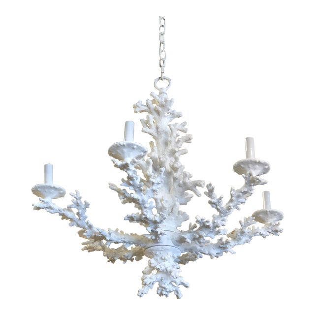 Vintage Palm Beach Tropical White Faux Coral 6 Light Chandelier For Sale