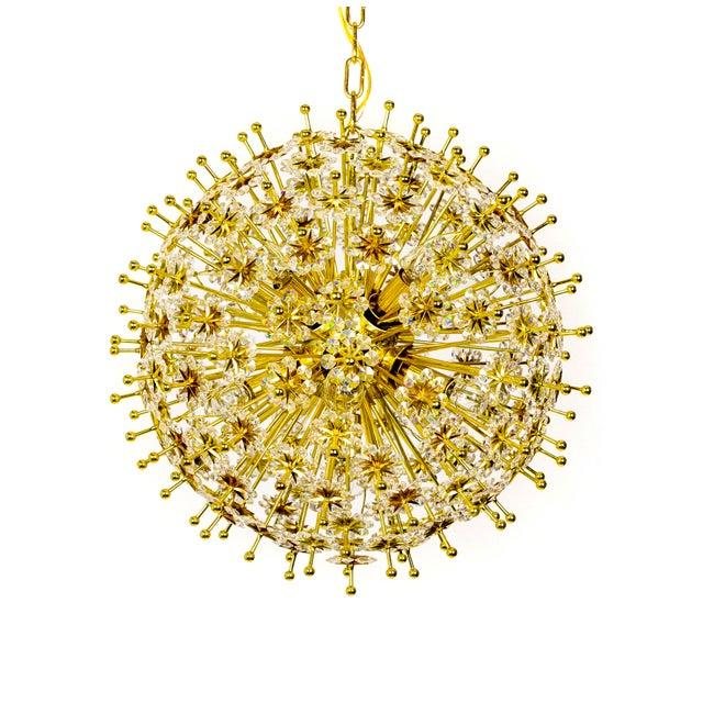 Crystal & Brass Sparkling Sunburst Chandelier (2 Available) For Sale - Image 10 of 10
