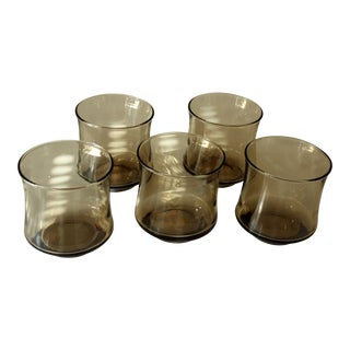 Vintage Smoked Glass Whiskey Glasses - Set of 5 For Sale