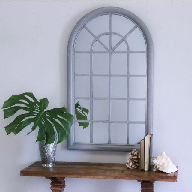 Large Arched Window Pane Mirror - Distressed Gray | Solid Wood Frame | Glass Mirror Overall Dimensions 25.5in x 1.63in x...