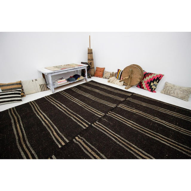 1960s Vintage Dark Brown Striped Kilim Rug- 9′ × 9′3″ For Sale In Los Angeles - Image 6 of 7
