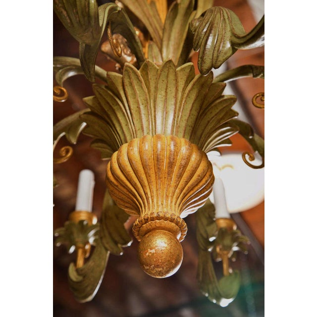 French Wood Foliate Chandelier - Image 4 of 7