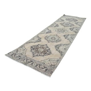 Contemporary Hand Knotted Turkish Oushak Runner With Modern Tribal Style in Light Colors, Extra Long & Wide Hallway Runner 3'11'' X 12'12'' For Sale