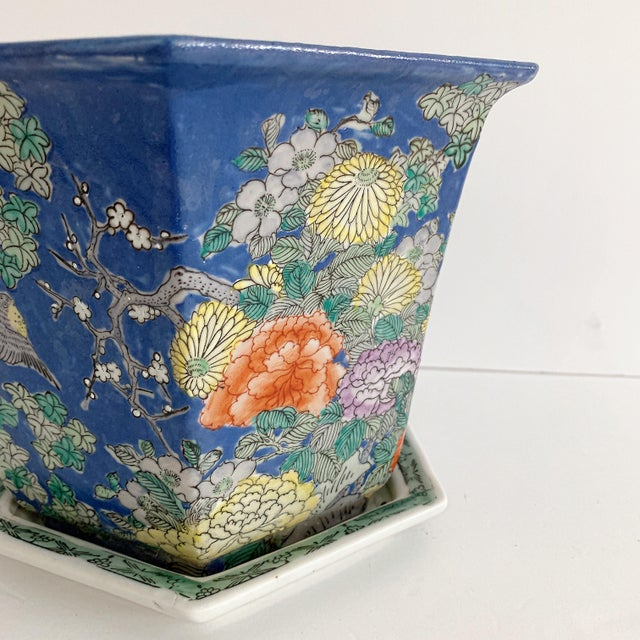 Asian Chinoiserie Blue Cherry Blossom and Birds Planter With Saucer For Sale - Image 3 of 10