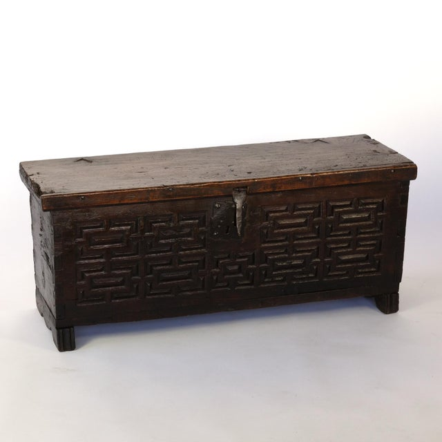 17th Century Baroque Period Spanish Walnut Coffer With Geometric Carved Front and Original Hardware; Spain, Circa 1650. For Sale - Image 5 of 10