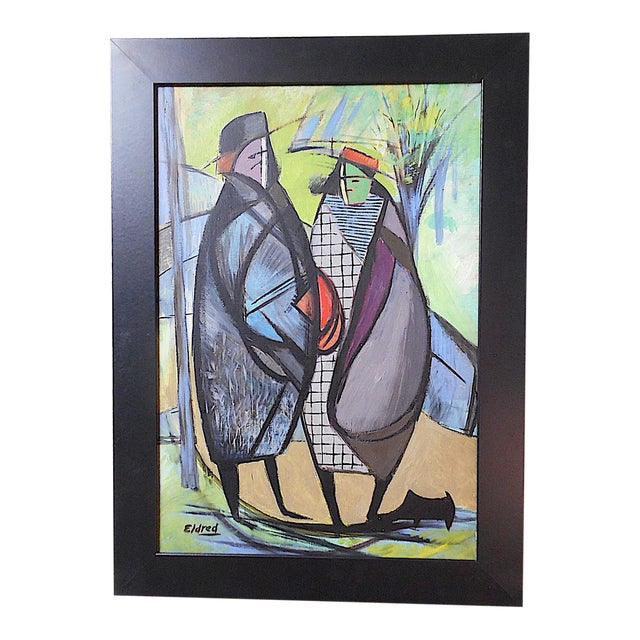 Original Vintage Modernist Signed Abstract Figural Oil On Canvas American Artist Thomas Brownell Eldred Framed