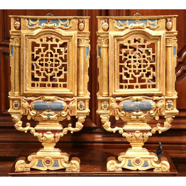 Gold 18th Century Italian Carved Polychrome & Gilt Wall Carvings - A Pair For Sale - Image 8 of 10