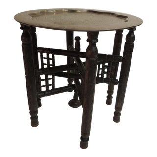 Antique Moroccan Round Side Table with Tray