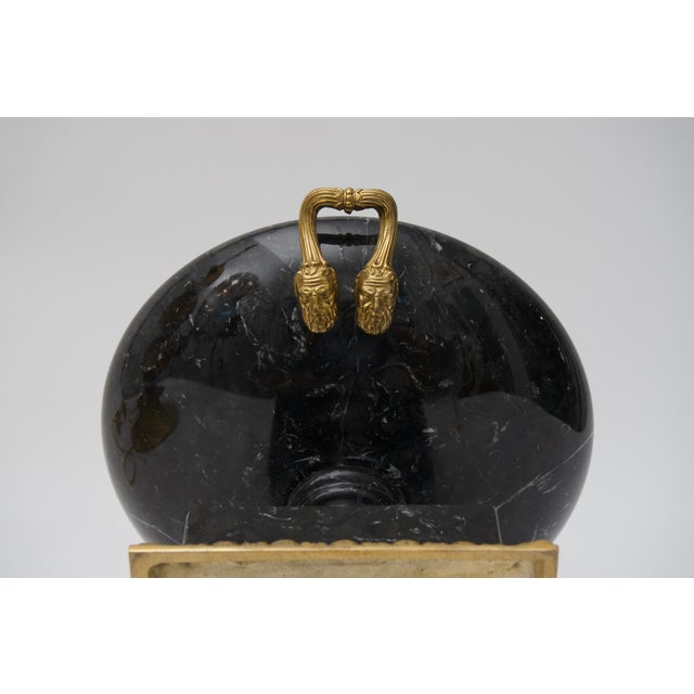Late 20th Century 20th Century Neoclassical Bronze and Black Marble Tazza For Sale - Image 5 of 7