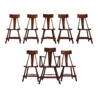 Set of 8 Herman DeVries for Cushman Hard Rock Vermont Maple American Craft For Sale