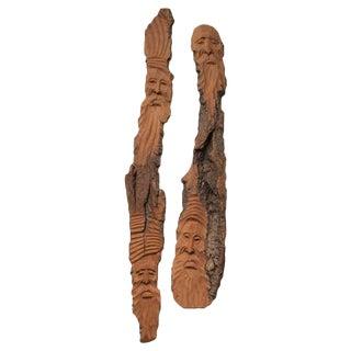 1960s Folk Art Czekoslovakian Wood Carved Plagues - a Pair