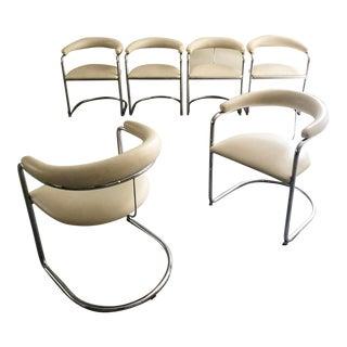 1960s Vintage Anton Lorenz Bauhaus Tubular Dining Chairs- Set of S6 For Sale