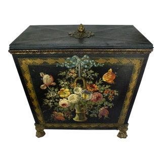 Antique Victorian Floral Coal Box