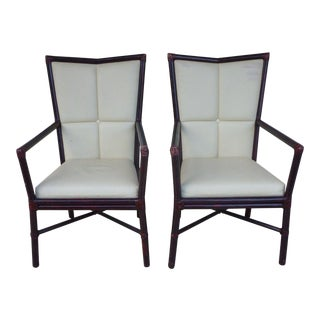 1950s Modern McGuire Orlando Diaz Azcuy High Back Rattan Arm Chairs - a Pair For Sale
