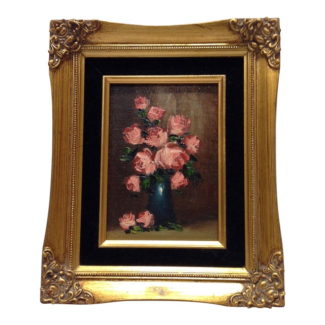 """""""Pink Roses"""" Vintage Still Life Oil Painting - Image 1 of 7"""