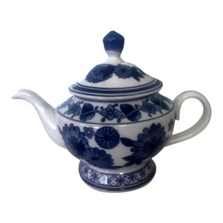 1900s Mid-Century Modern Blue and White Ceramic Tea Pot For Sale