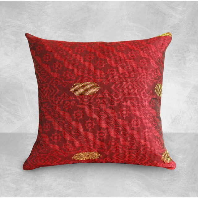 Red & Gold Handwoven, Bohemian Style, Thanksgiving Ikat Pillow Cover - Pair - Image 3 of 4