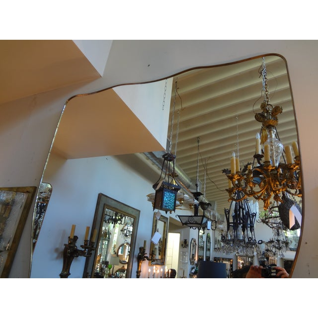 Italian Gio Ponti Inspired Brass Mirror - Image 7 of 7