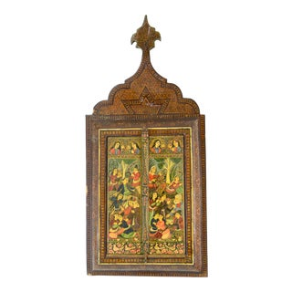 19th-Century Persian Marquetry Wedding Mirror For Sale