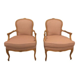French Provincial Reupholstered Vintage Accent Chairs - a Pair For Sale