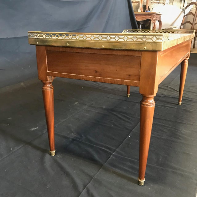 1920's French Louis XVI Style Walnut and Marble Coffee Table For Sale - Image 10 of 11