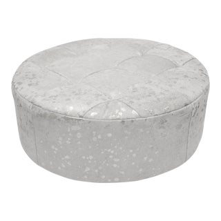 """Solly 36"""" Ottoman, Silver & White For Sale"""
