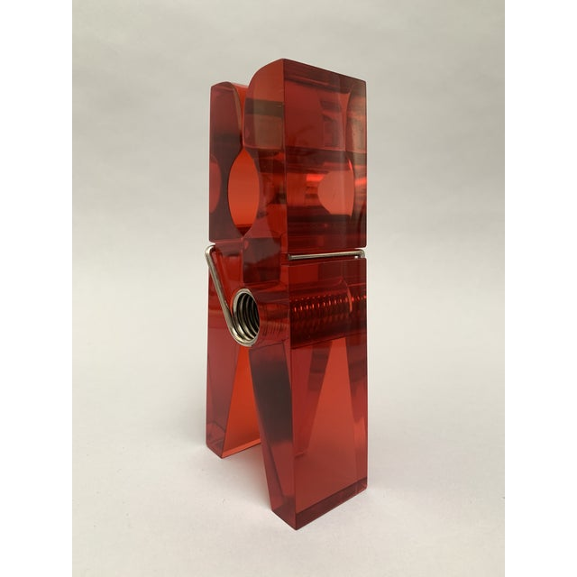 1970s Oversized Red Lucite Clothespin Paperweight or Paper Holder For Sale - Image 5 of 13