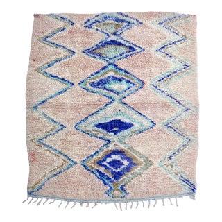 Vintage Blue Diamond Boujad Rug For Sale