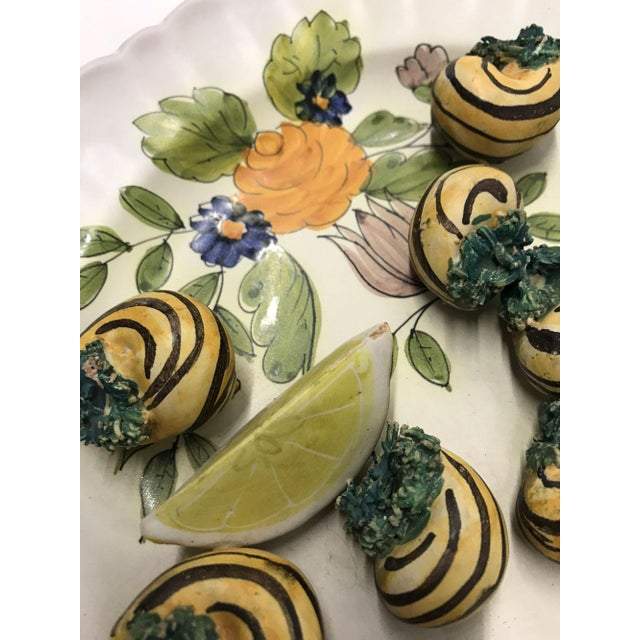 Mid-20th Century Italian Trompe-L'œil Plate of Escargots For Sale - Image 4 of 11