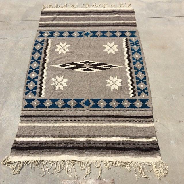 """Vintage Navajo Style Blanket Rug - 4'9"""" X 9"""" - Image 2 of 10"""