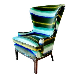 Regency Inspired Wingback Chair With Buttoned Upholstery For Sale