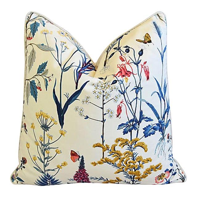"Botanical Floral Cotton & Linen Feather/Down Pillow 24"" Square For Sale"