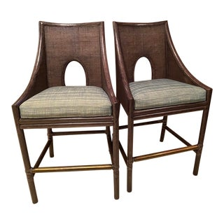 Barbara Barry for McGuire Caned Barstools - a Pair For Sale