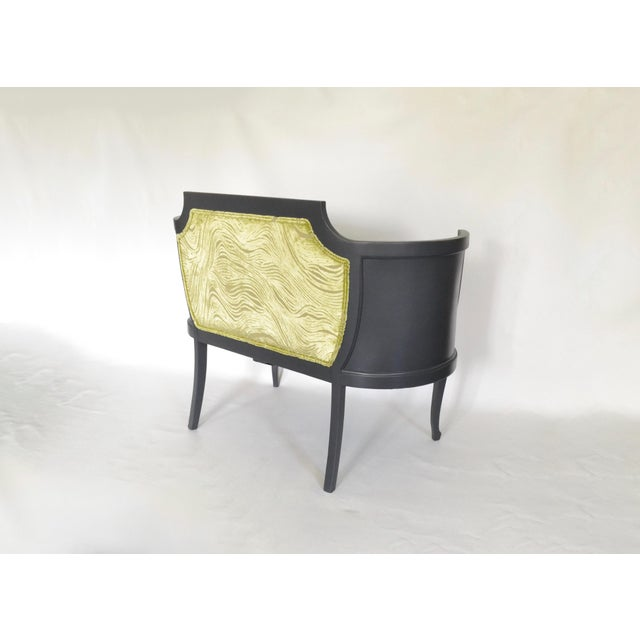 Antique Mahogany Striped Velvet Upholstered Settee Arm Chair For Sale - Image 5 of 7