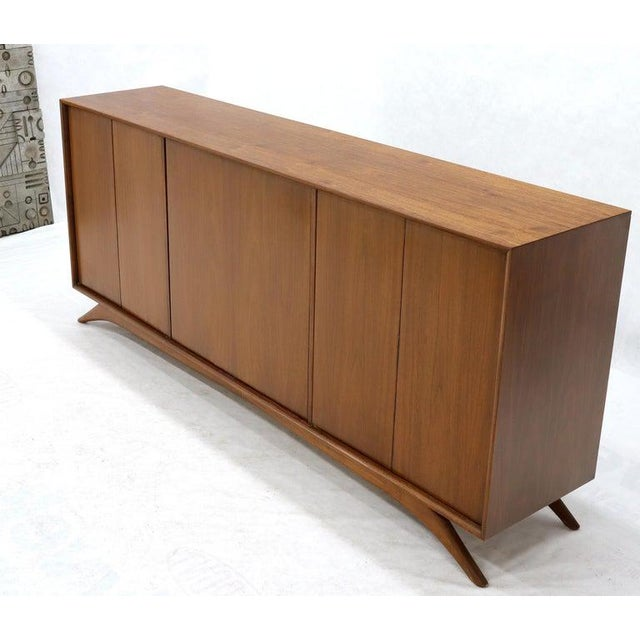 Brown Swivel Centre Bar Walnut Mid-Century Modern Credenza Sideboard Sculptural Legs For Sale - Image 8 of 13