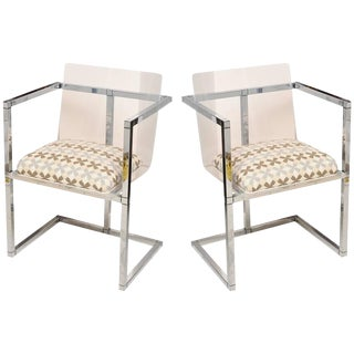 Pair of Lucite and Polished Chrome Architectural Side Chairs For Sale