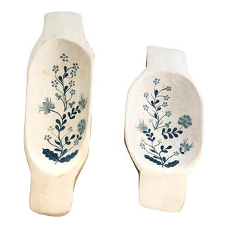 etuHOME Painted Blue & White Dough Bowls- a Pair For Sale