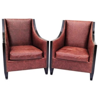 Pair of High Back Leather Club Chairs For Sale